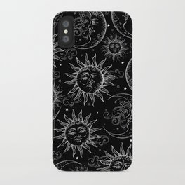 Black Magic Celestial Sun Moon Stars iPhone Case
