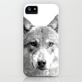 Black and White Wolf iPhone Case