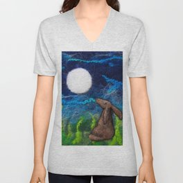 Moon Rise Hare, Moon gazing Hare textile art by The Wonky Fox Unisex V-Neck