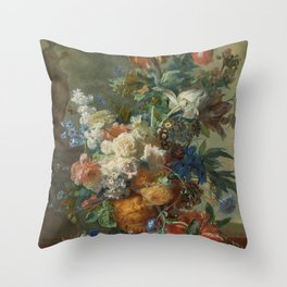 Jan van Huysum - Still life with flowers (1723) Throw Pillow