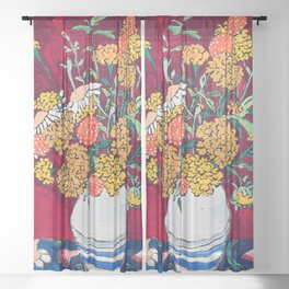 Marigold, Daisy and Wildflower Bouquet Fall Floral Still Life Painting on Eggplant Purple Sheer Curtain