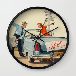 Just Married Retro Couple Wall Clock