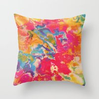 tie dye Throw Pillows featuring Tie Dye by The Dope Scope