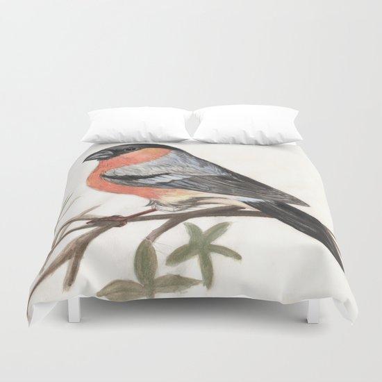 Eurasian bullfinch bird Duvet Cover