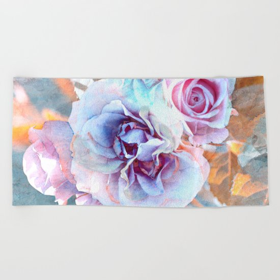 Vintage roses(6). Beach Towel