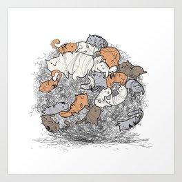 Hairball Buddies Art Print