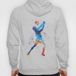 Volley ball player man 01 in watercolor Hoody