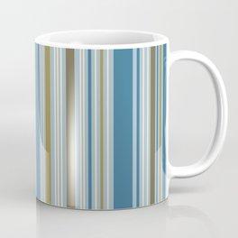 Stripey Design Gold Cream Brown Blues Coffee Mug