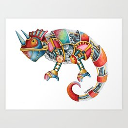 Steampunk Chameleon Watercolour Painting Art Print