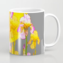 IRIS GARDEN & RISING GOLD MOON  IN GREY SKY Coffee Mug