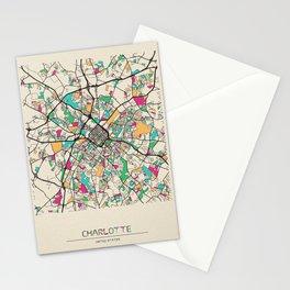 Colorful City Maps: Charlotte, North Carolina Stationery Cards