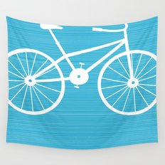 Blue Bike by Friztin Wall Tapestry
