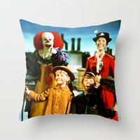 pennywise Throw Pillows featuring PENNYWISE IN MARY POPPINS by Luigi Tarini