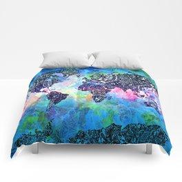 world map mandala watercolor Comforters