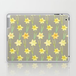 Yellow Watercolour Stemmed Daffodil Pattern Laptop & iPad Skin