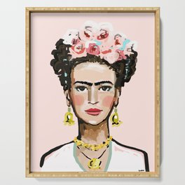 Frida on Soft Pink Serving Tray