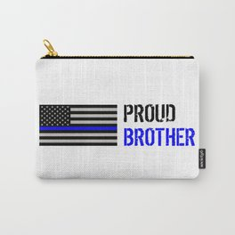 Police: Proud Brother (Thin Blue Line) Carry-All Pouch