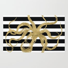 Gold Octopus on Black & White Stripes Rug