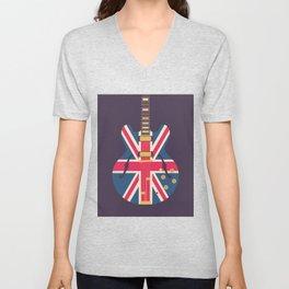 Union Jack Flag Guitar - Black Unisex V-Neck