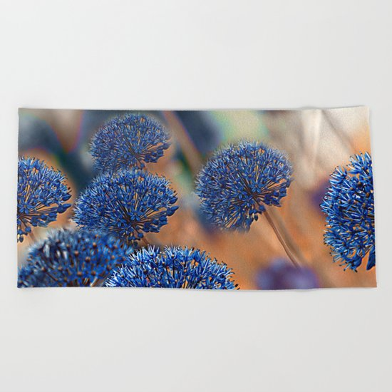 Blue ball flowers. Beach Towel