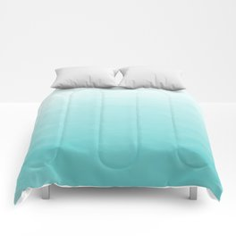 Modern teal watercolor gradient ombre brushstrokes pattern Comforters