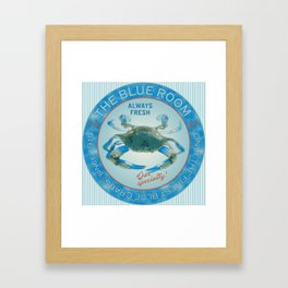Retro Vintage Advertising Inspired Seafood Ad for Blue Crabs Framed Art Print