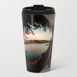Holding a Sunrise refraction photography with a crystal ball Travel Mug