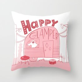 Happy Glamper Throw Pillow