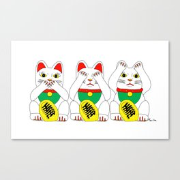 Three Wise Lucky Cats Canvas Print