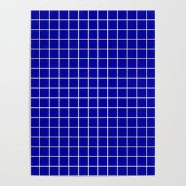 Duke blue - blue color - White Lines Grid Pattern Poster