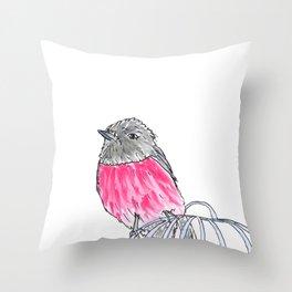 Pink Robin Watercolor Throw Pillow