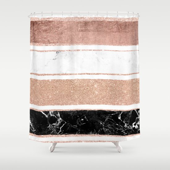 Faux Rose Gold Glitter Modern Marble Stripes Pattern Shower Curtain By Girly Trend Society6