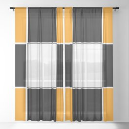 Team Color 3 ...black and Orange Sheer Curtain