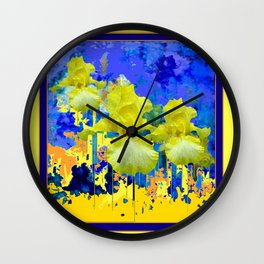 Contemporary Yellow-Purple  Color Yellow Iris Abstract Wall Clock