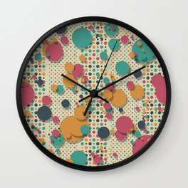 """Retro Colorful Polka Dots 02"" Wall Clock"