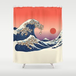 The Great Wave of Shiba Inu Shower Curtain