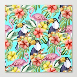 Tropical birds and flowers Canvas Print