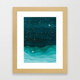 Starry Ocean, teal sailboat watercolor sea waves night Framed Art Print