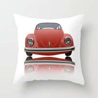 vw Throw Pillows featuring VW Beetle by Nove Studio