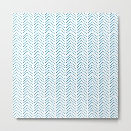 Hand painted blue watercolor aztec chevron geometrical Metal Print