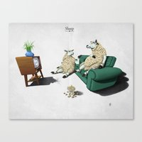 sheep Canvas Prints featuring Sheep by rob art | illustration