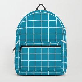 Bondi blue - blue color - White Lines Grid Pattern Backpack