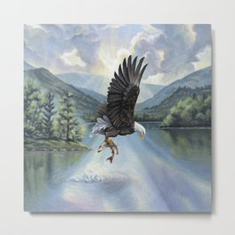 Eagle with Fish Metal Print