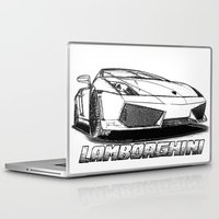 lamborghini Laptop & iPad Skins featuring Lamborghini line drawing by JT Digital Art