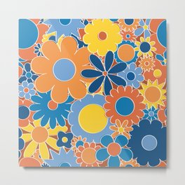 Funky Daisy Floral in Sunny Daze Metal Print
