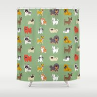 asian Shower Curtains featuring ASIAN DOGS by Doggie Drawings