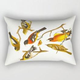 Evening grosbeak John James Audubon Vintage Birds Of America Illustration Rectangular Pillow