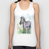 zebra Tank Tops featuring Zebra by Olechka