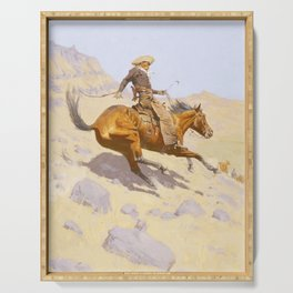 The Cowboy by Frederic Remington Serving Tray