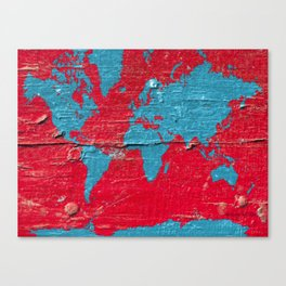Blue and Red Milk Paint - Organic World Map Series Canvas Print